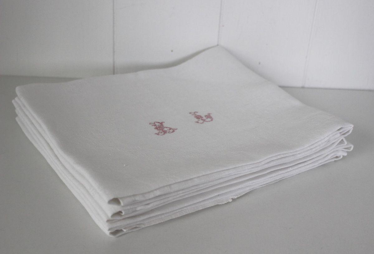 Lot de 5 serviettes monogrammées rouge BL