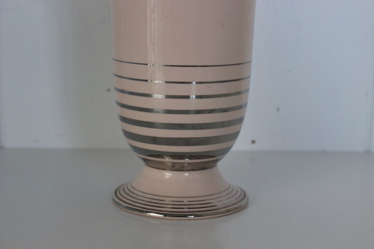 Vase rose et argent Digoin Sarreguemines Années 60 - Vintage