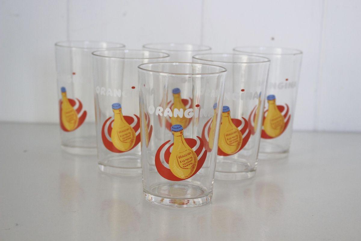 Lot de 6 verres Orangina Années 70 - Vintage