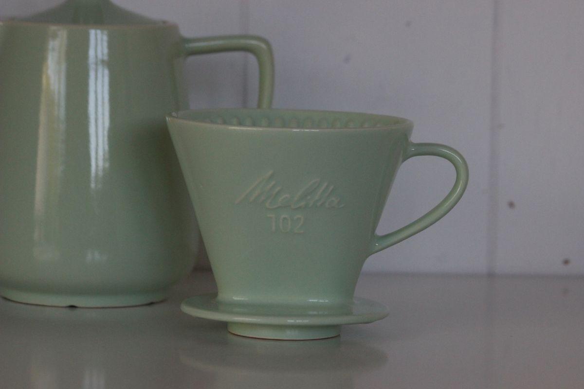 Cafetière Melitta verte et son porte filtre 102 Années 60 - Vintage