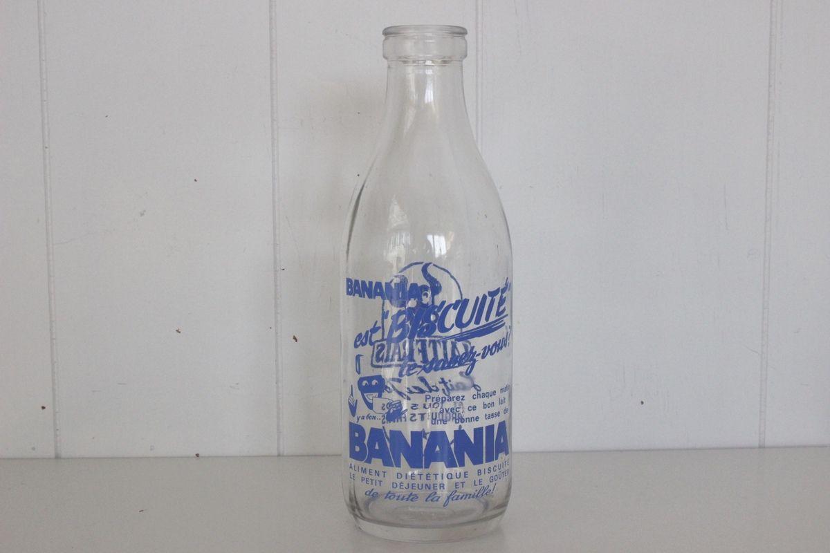 Ancienne Bouteille de lait Banania Années 60 - Vintage