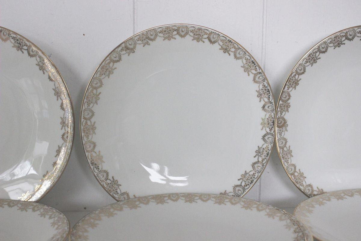Lot de 6 assiettes à dessert blanches et dorées en porcelaine de Limoges