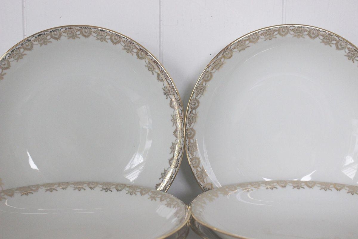 Lot de 6 assiettes calottes creuses En porcelaine de Limoges Vintage