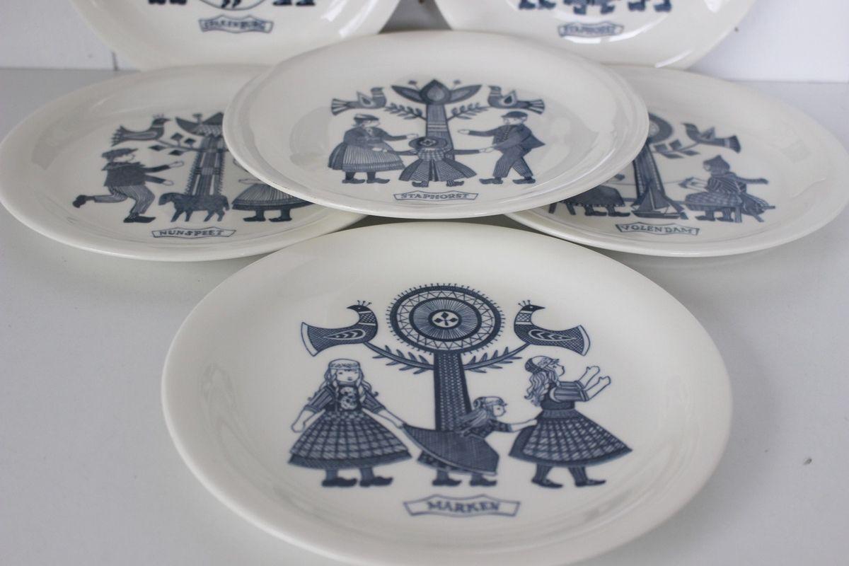 Lot de 6 assiettes décor vintage Made in Holland Années 70 - Vintage