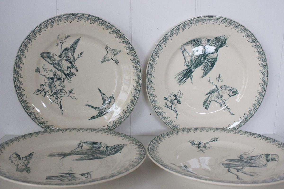 Lot de 4 assiettes Ruffon Sarreguemines U&C décor oiseaux