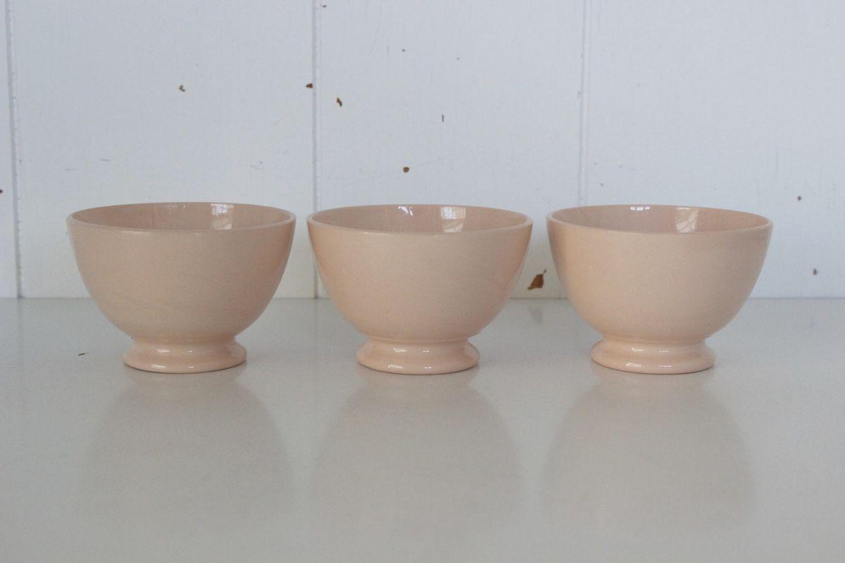 Lot de 3 mini bols roses Digoin Sarreguemines