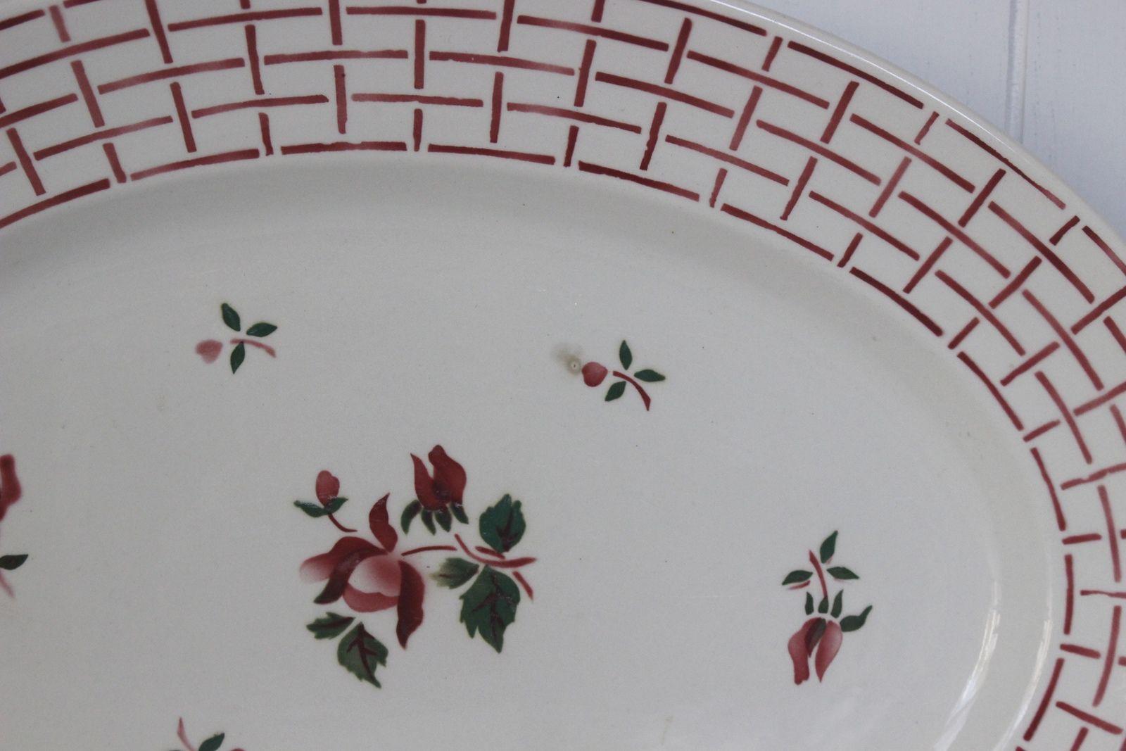 Grand plat ovale Rosa Digoin Sarreguemines Vintage