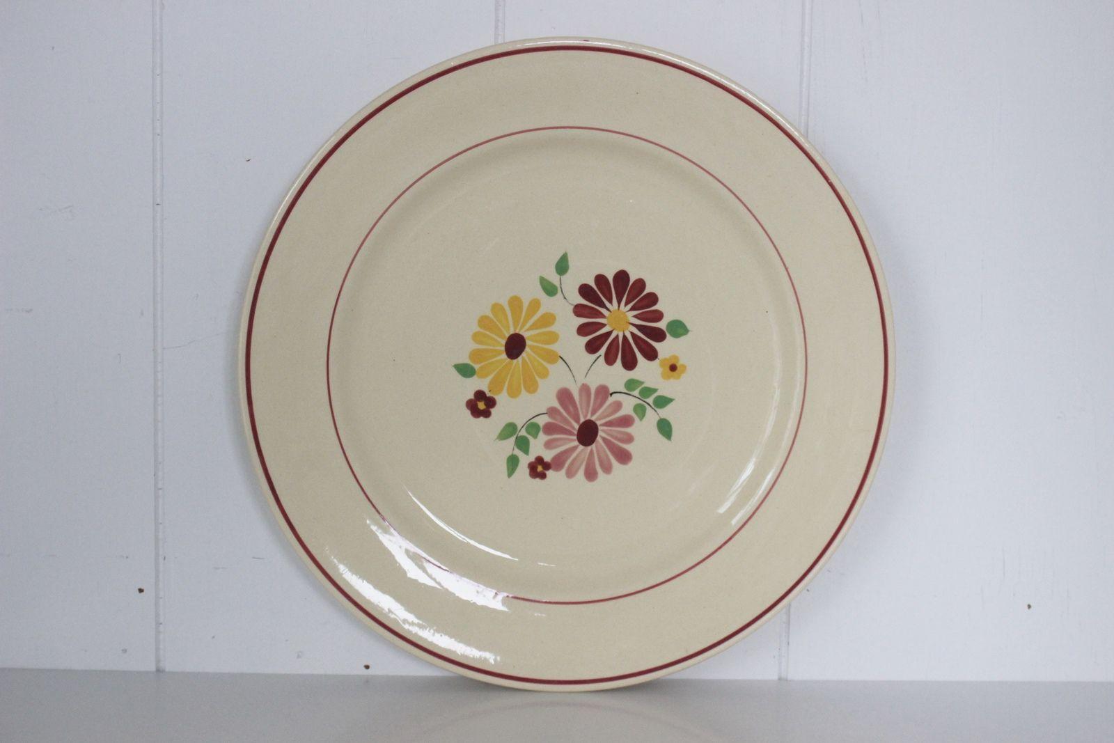 Plat rond décor fleur rose jaune et bordeaux Vintage