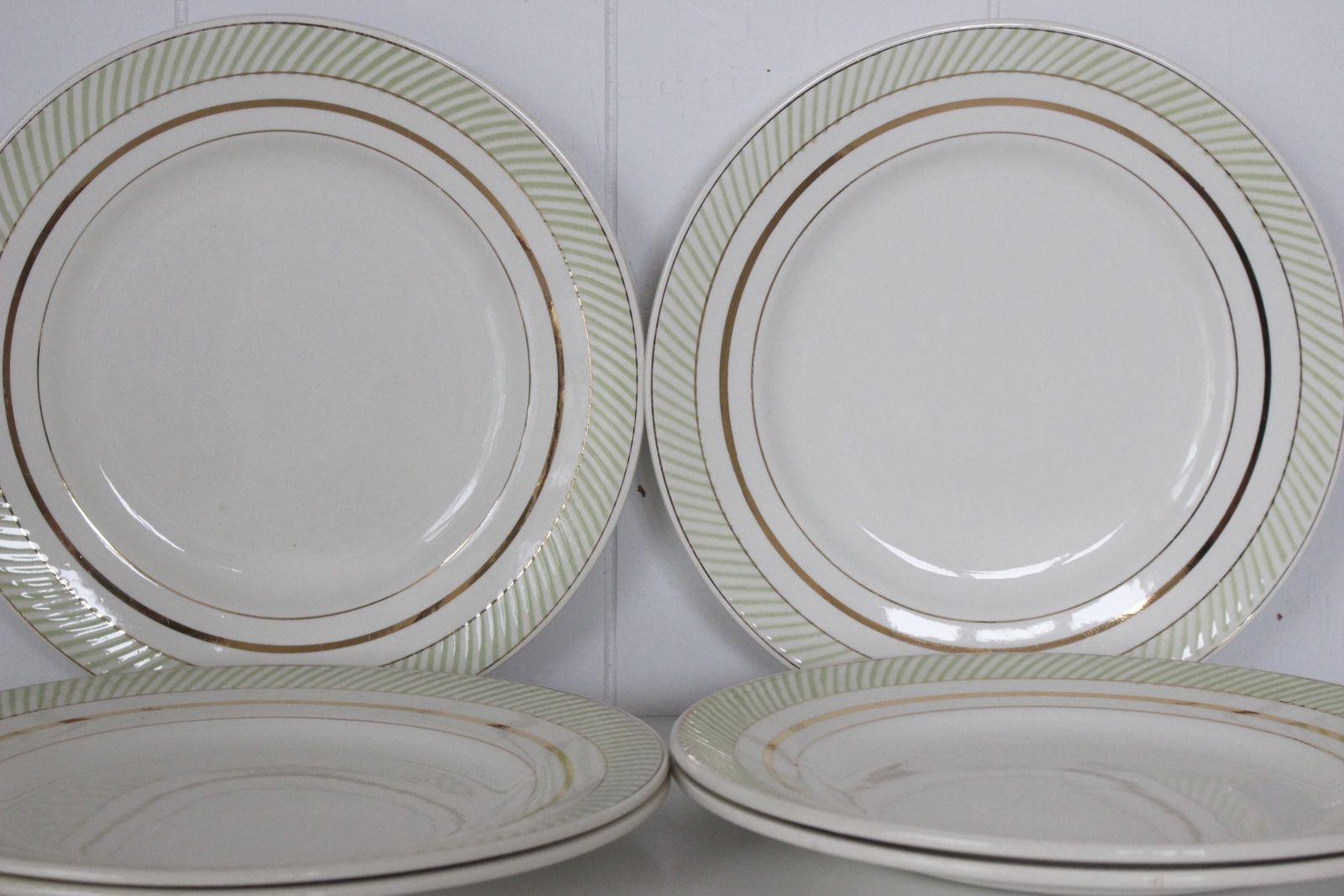 Assiettes plates Salins Arizona décor vert et doré Vintage
