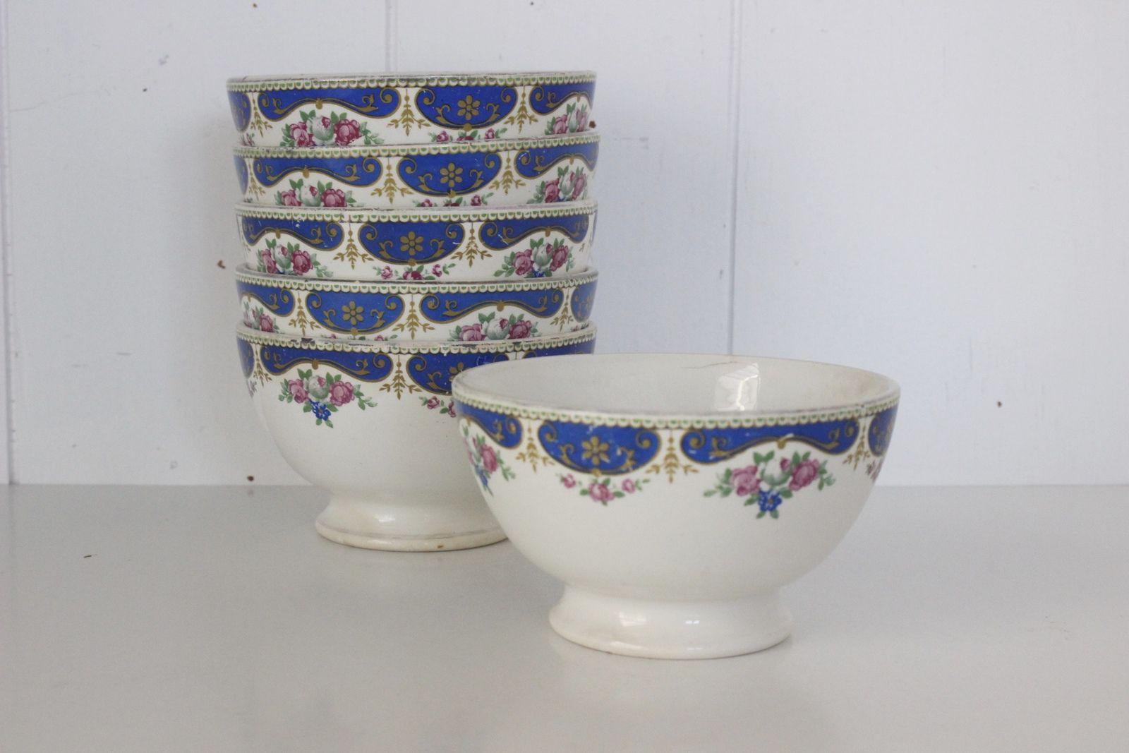 Lot de 6 bols St Amand Hamage décor bleu Vintage