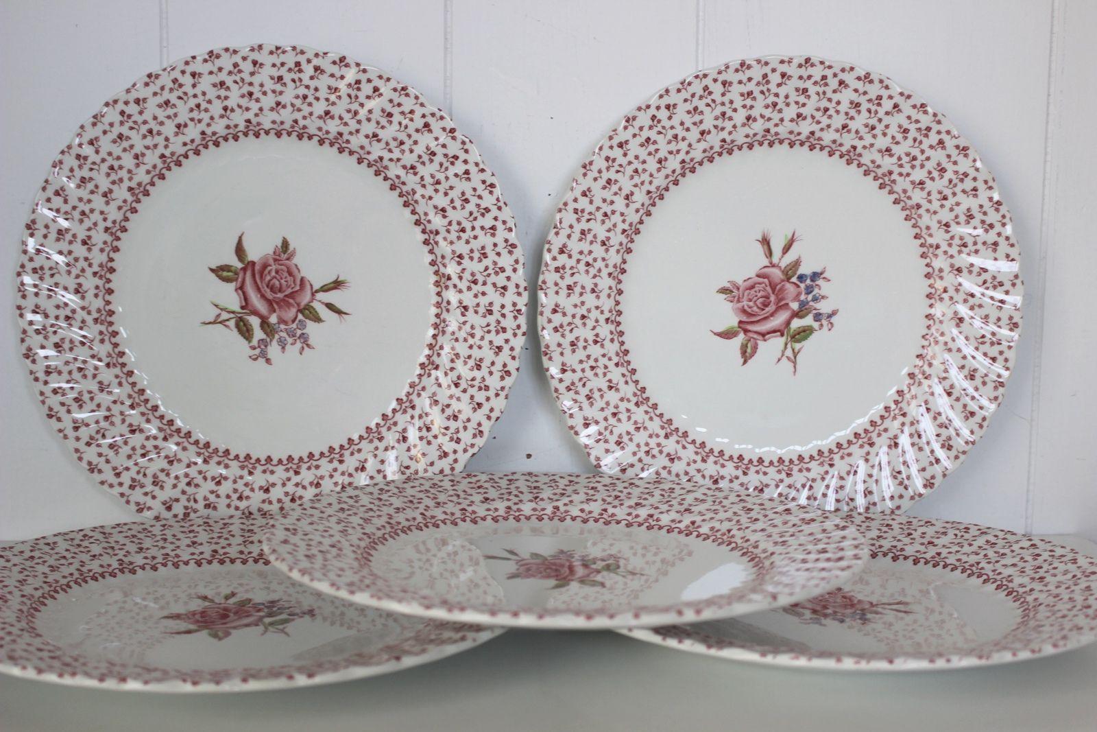 Lot de 5 assiettes Rose Bouquet Johnson Bros Made in England