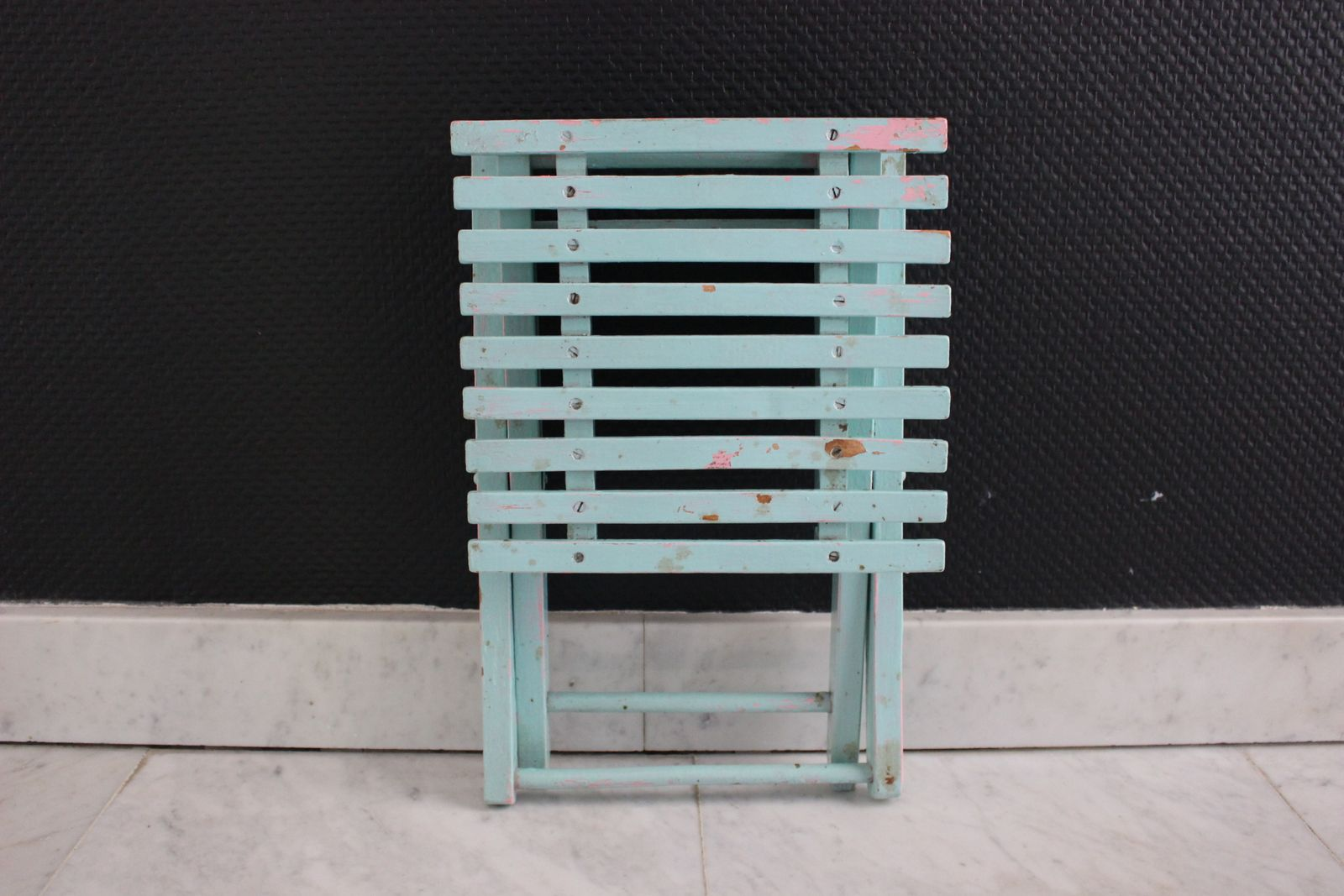 Petit tabouret en bois pliant couleur Mint Vintage