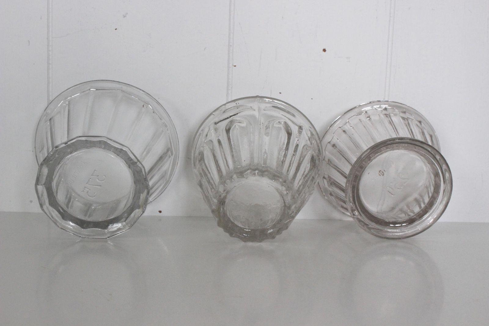 Lot de 3 pots à confiture évasés en verre ancien Portieux Vintage