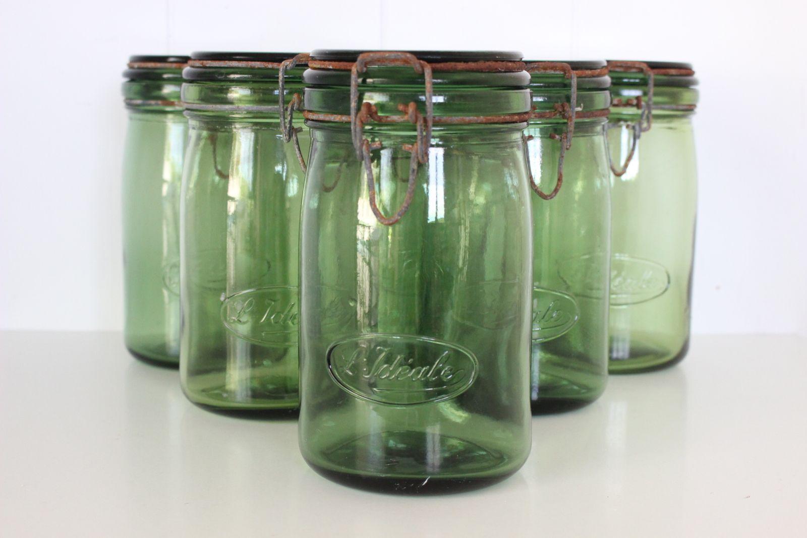 Bocal vert ancien L'idéale Vintage