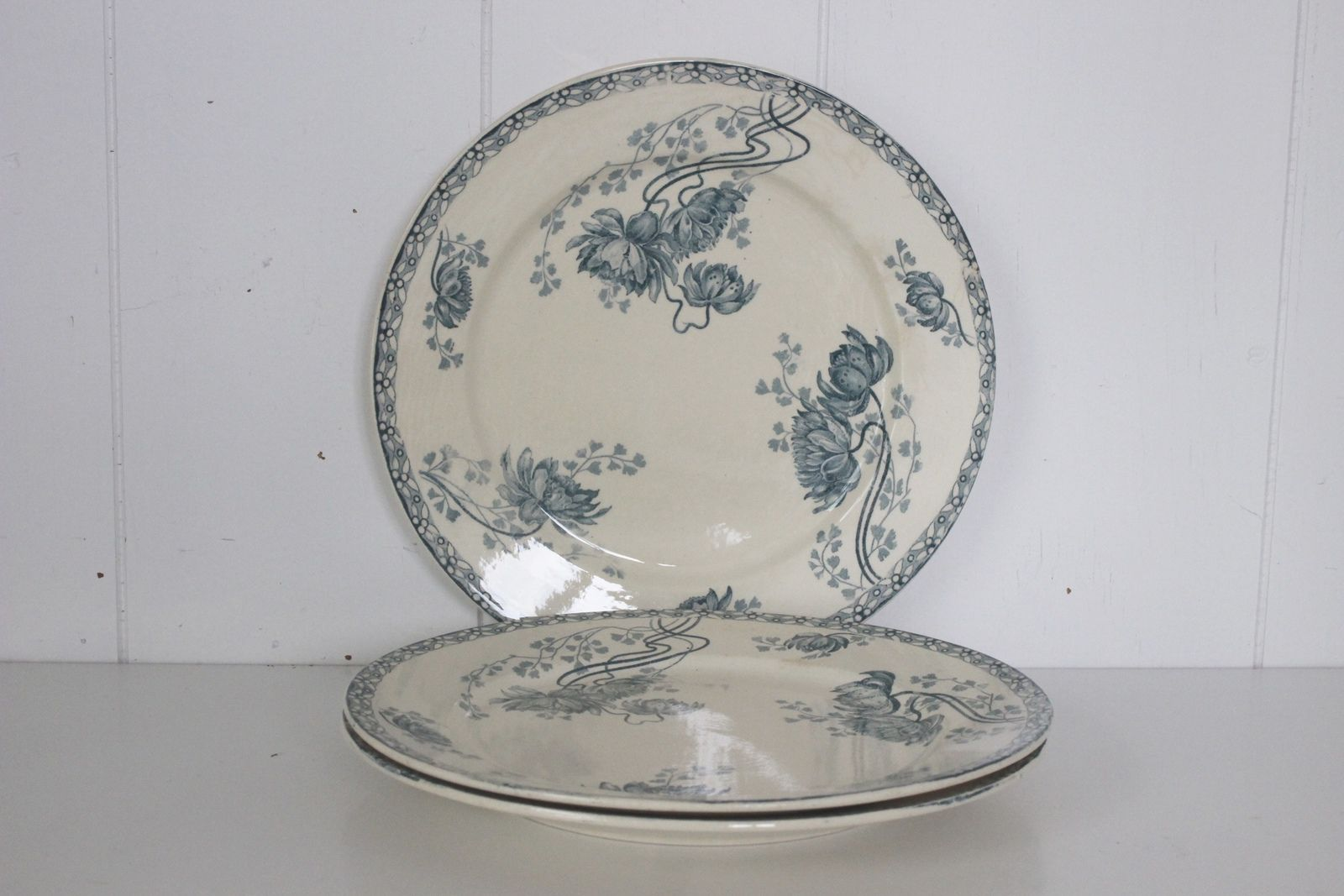 Lot de 3 assiettes plates Royat Sarreguemines