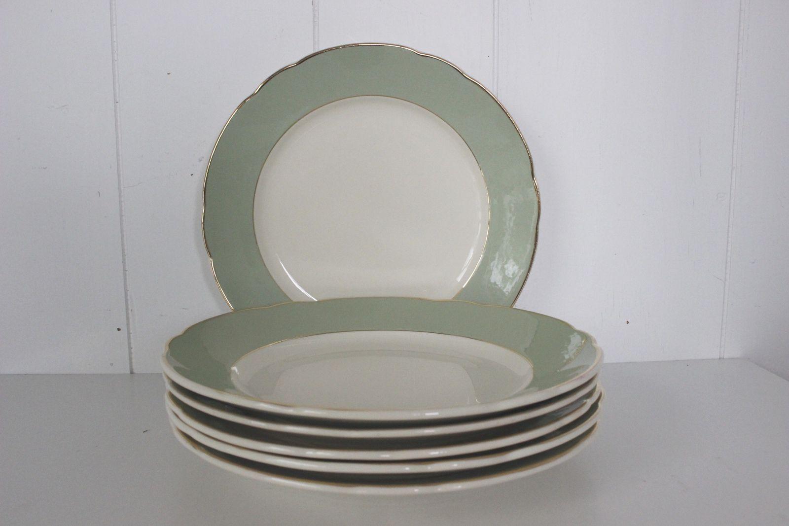 Lot de 6 assiettes plates Villeroy et Boch vertes et dorées Années 60 - Vintage