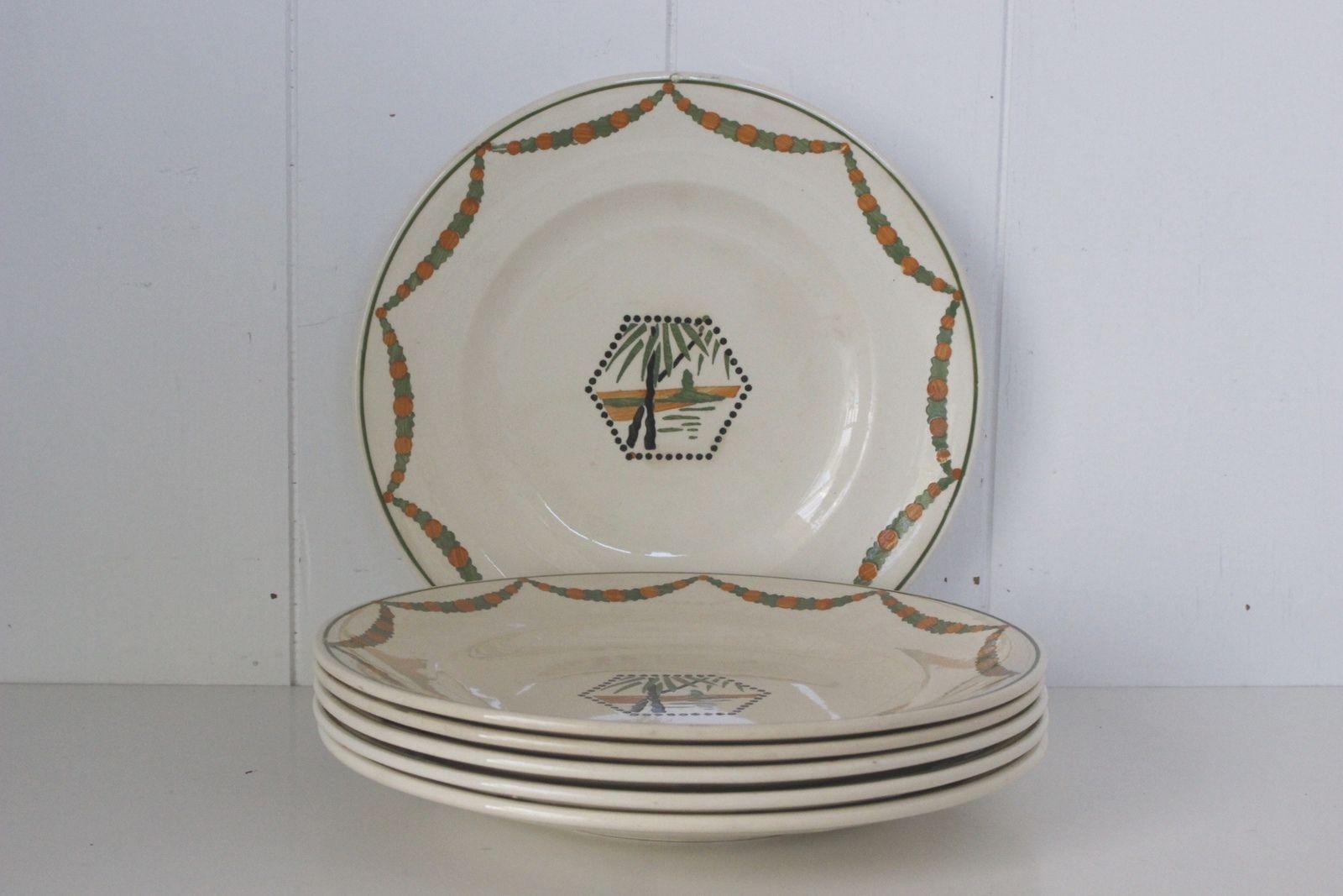 Lot de 6 assiettes plates Longwy Palmier Fleuri Vintage