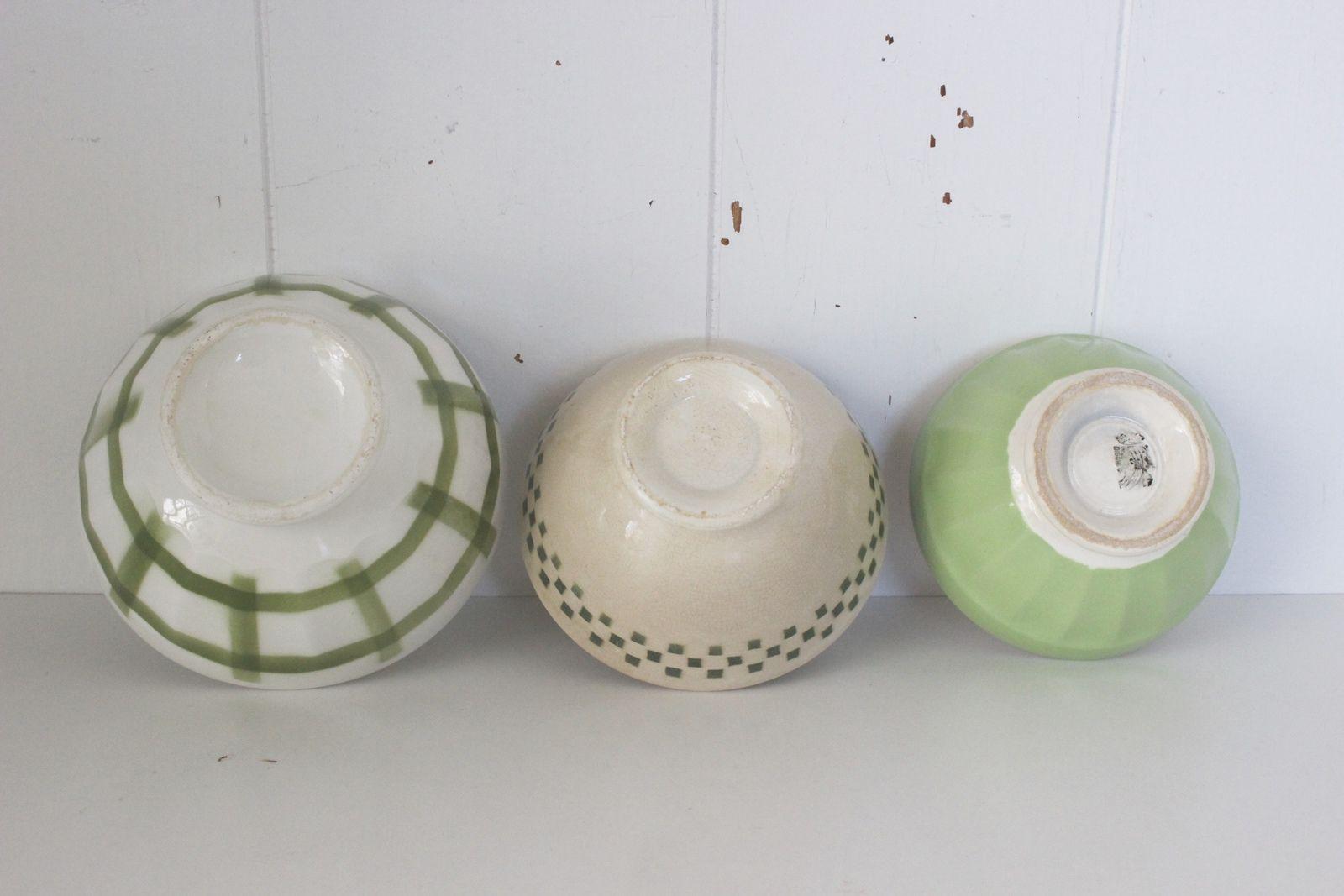 Lot de 3 bols décor vert Vintage