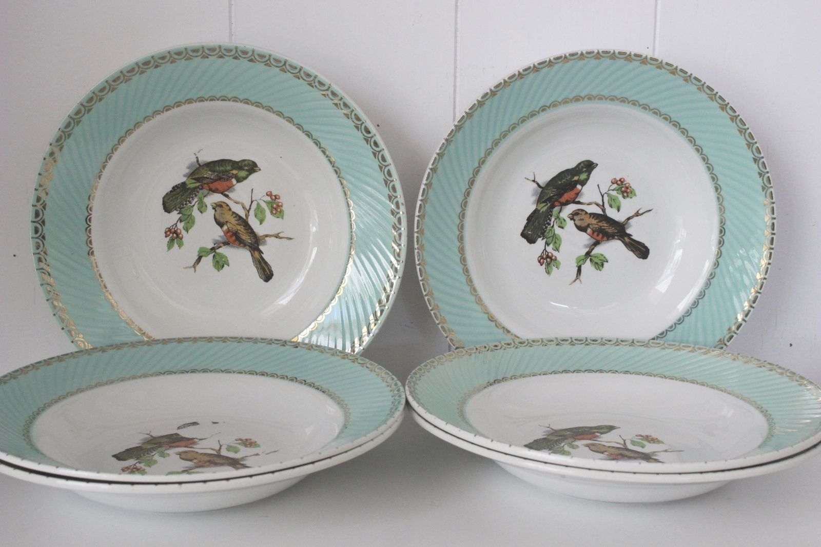 Lot de 6 assiettes creuses décor oiseaux Années 60 - Vintage