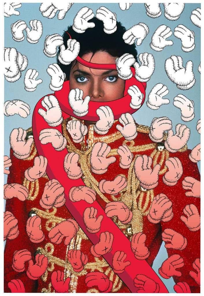L'artiste new-yorkais KAWS a choisi de  représenter Michael Jackson entouré de gants : non pas son emblématique gant pailleté, mais celui à quatre doigts de  Mickey Mouse, son seul rival. (Jackson voulait devenir aussi célèbre que Mickey)