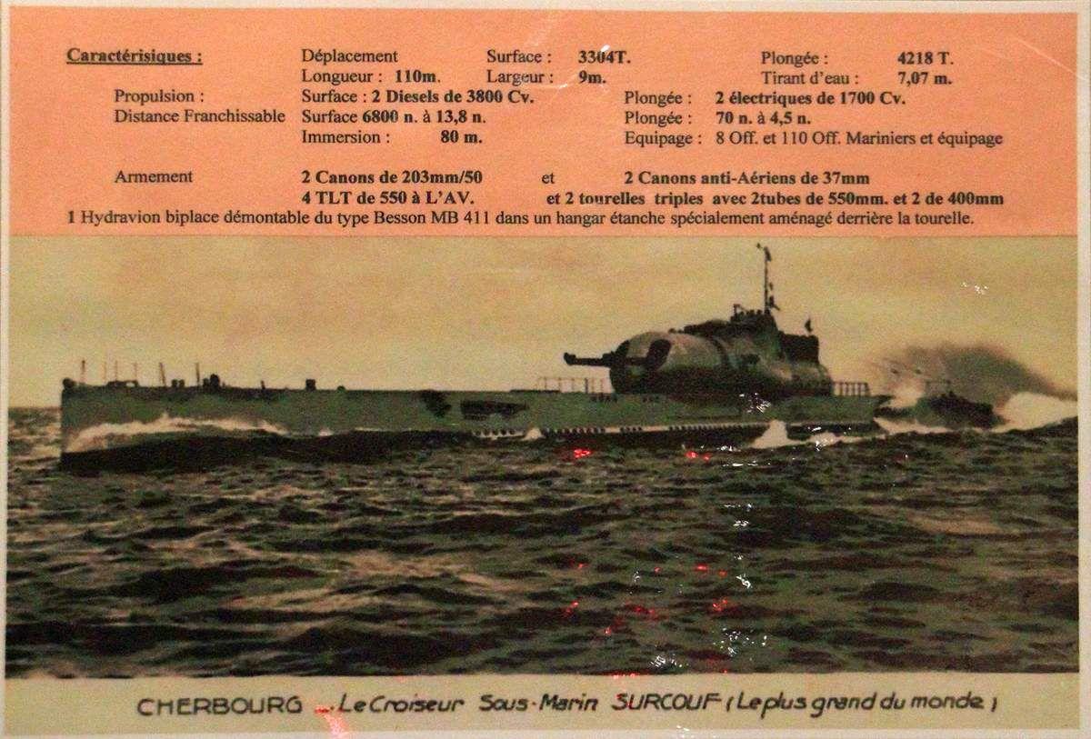 Caractéristiques du sous-marin Surcouf. Informations affichées à l'espace muséographique des sous-marins du Fort de Bertheaume en Plougonvelin (Pays d'Iroise)