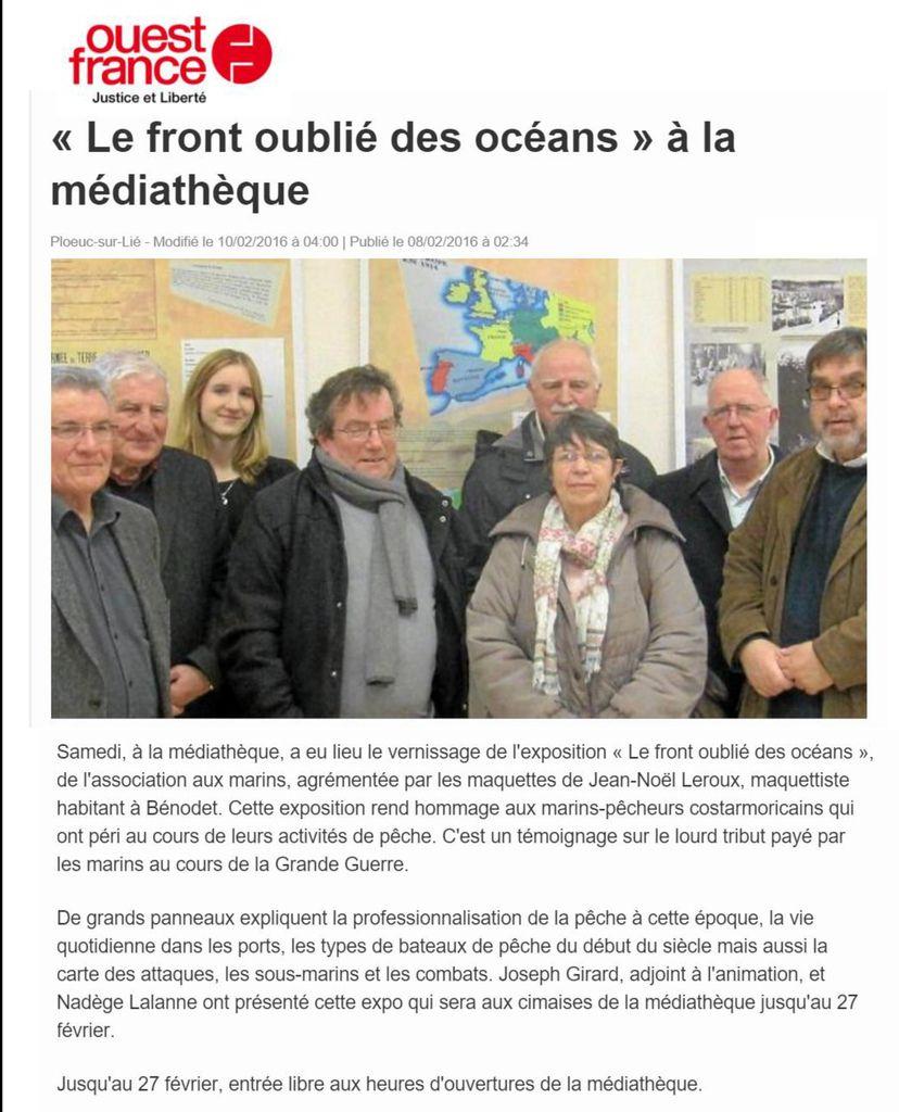 """""""1914 - 1918 - L'Océan - le front oublié des marins pêcheurs"""" - Exposition à Ploeuc-L'hermitage (Côtes d'Armor) du 2 au 27 février 2016"""