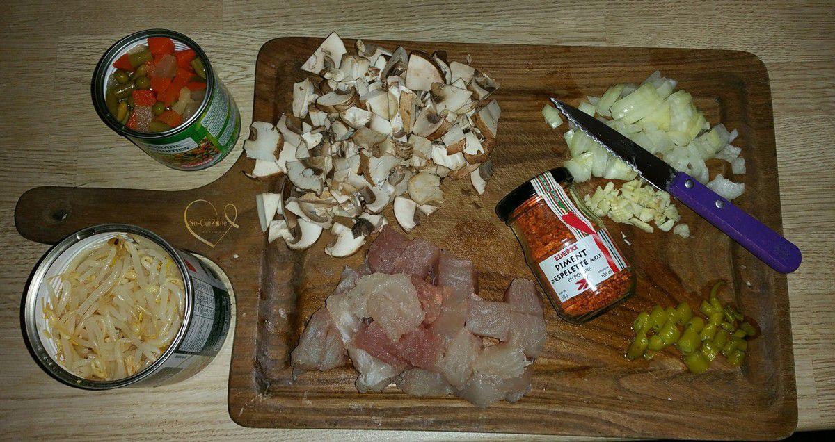 Wok de vermicelles sautés au thon et ses petits légumes express au piment d'espelette