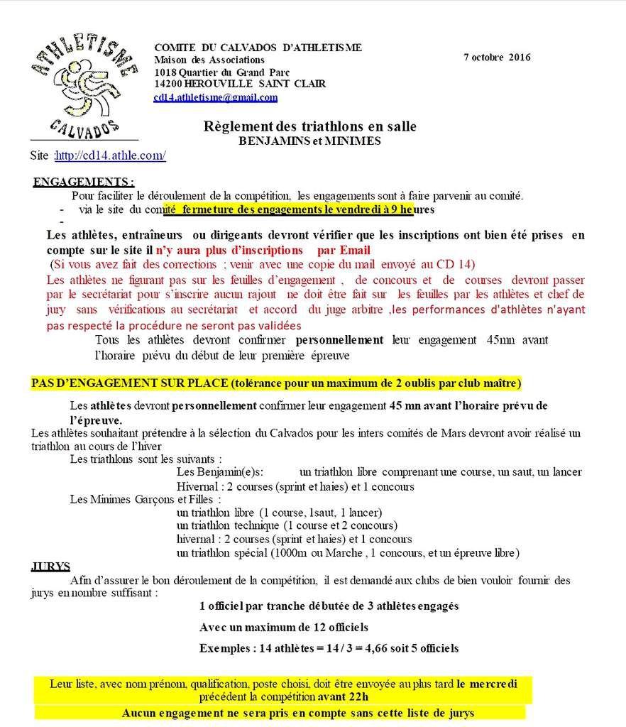 Triathlon du CD 14 - samedi 14 janvier 2017