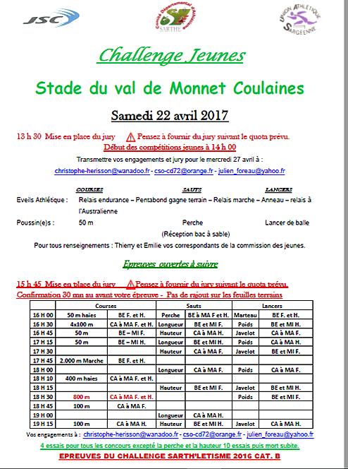Le calendrier  piste en Sarthe en avril