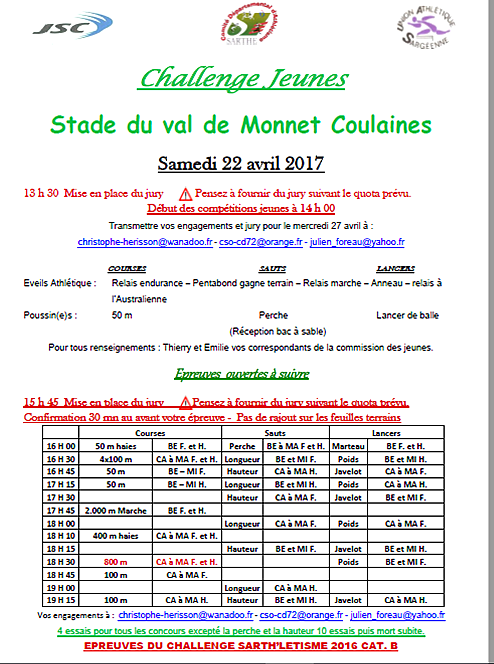 Meeting de Coulaines samedi  22 avril 2017
