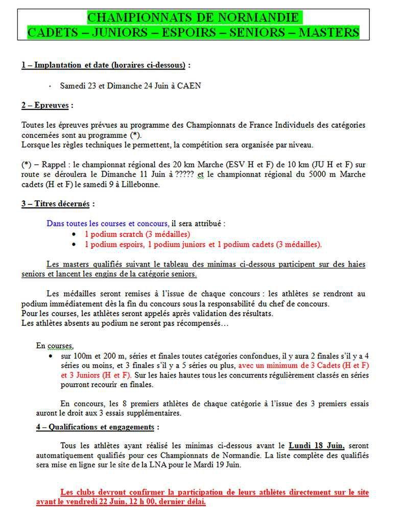 Championnats régionaux CJESM à Caen  samedi  23 et dimanche  24 juin