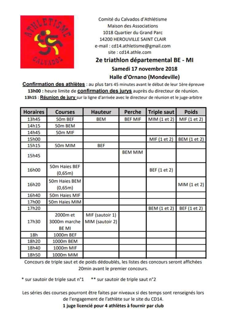 Triathlon BE/MI  du CD14 du  17 novembre