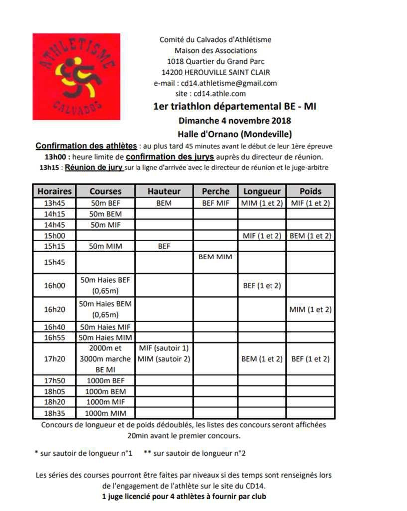Triathlon BE/MI  à Mondeville - dimanche 4 novembre 2018
