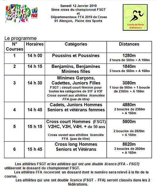 Championnat départemental de cross - samedi 12 janvier 2019