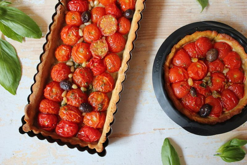 Tarte aux tomates cerises et au pesto sans gluten