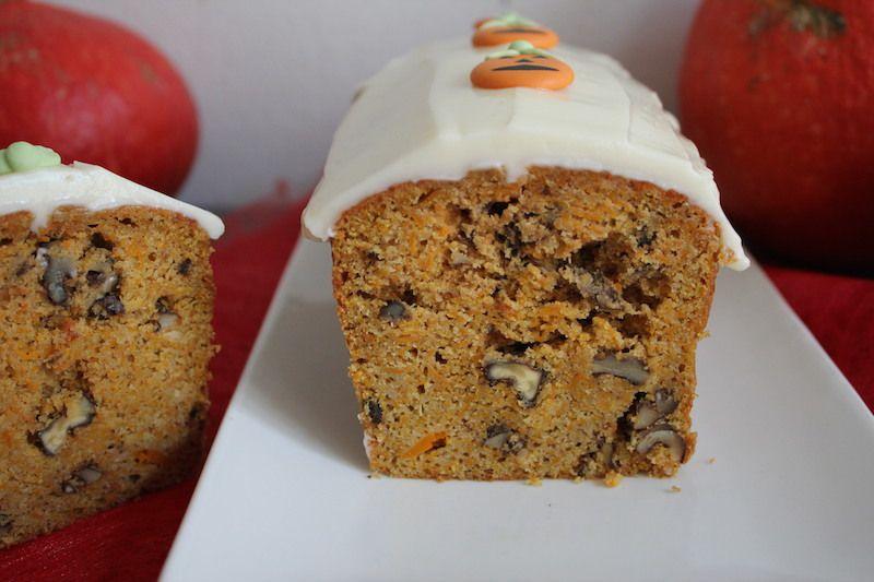 Gâteau au potimarron façon carrot cake sans gluten - parfait pour Halloween -