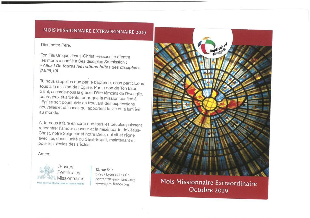 Agenda paroissial du samedi 19 octobre au dimanche 27 octobre 2019