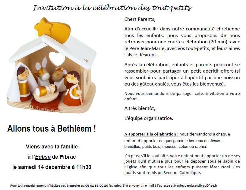 Célébration des tout-petits samedi 14 décembre à l'église de Pibrac à 11h30
