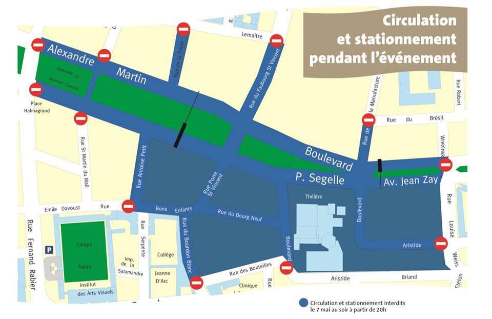 SET ELECTRO DES FETES DE JEANNE D'ARC : plan de circulation et points de filtrage des piétons le 7 mai 2016