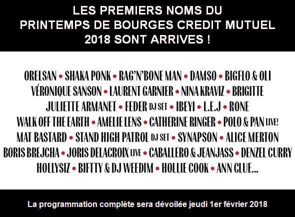 Le Printemps de Bourges Crédit Mutuel organisé du 24 au 29 avril 2018 dévoile ses premiers noms