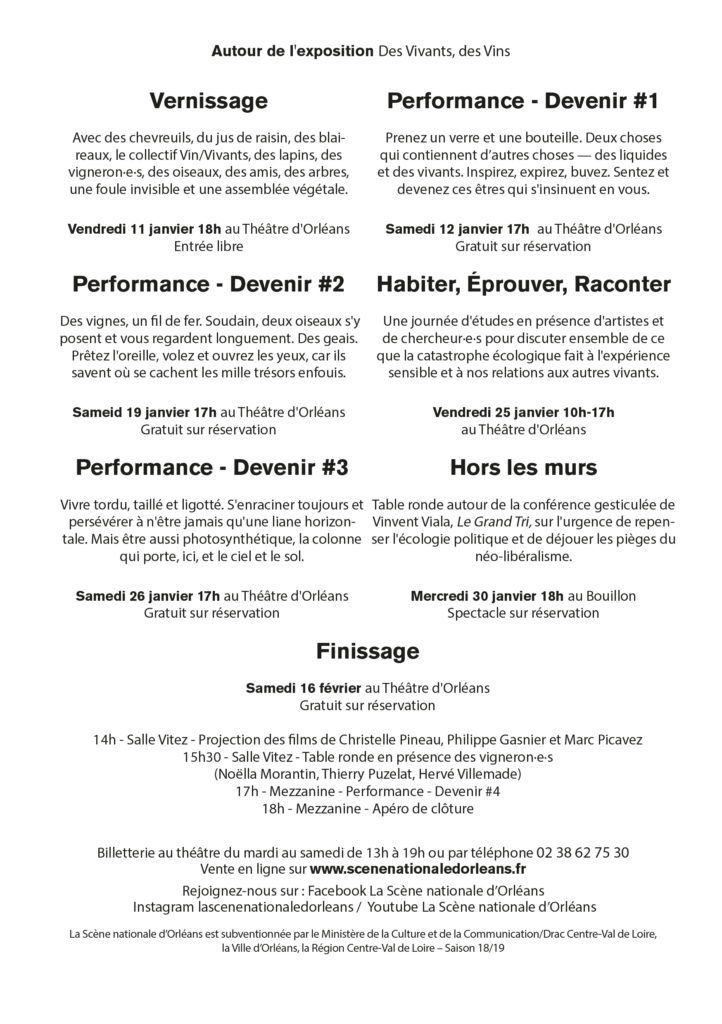 Exposition DES VIVANTS, DES VINS conçue par le Collectif Vin/Vivants - Scène nationale d'Orléans - 12 janvier au 16 février 2019