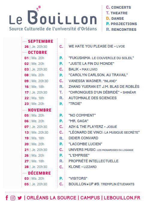 LE BOUILLON : PROGRAMMATION culturelle éclectique sur l'Université d'Orléans de septembre à décembre 2019