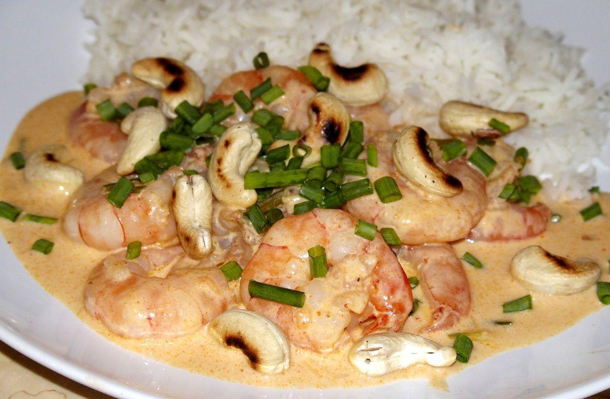 Crevettes au curry Panang