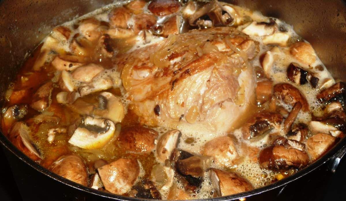 Veau à la sauge, champignons et huile de truffe