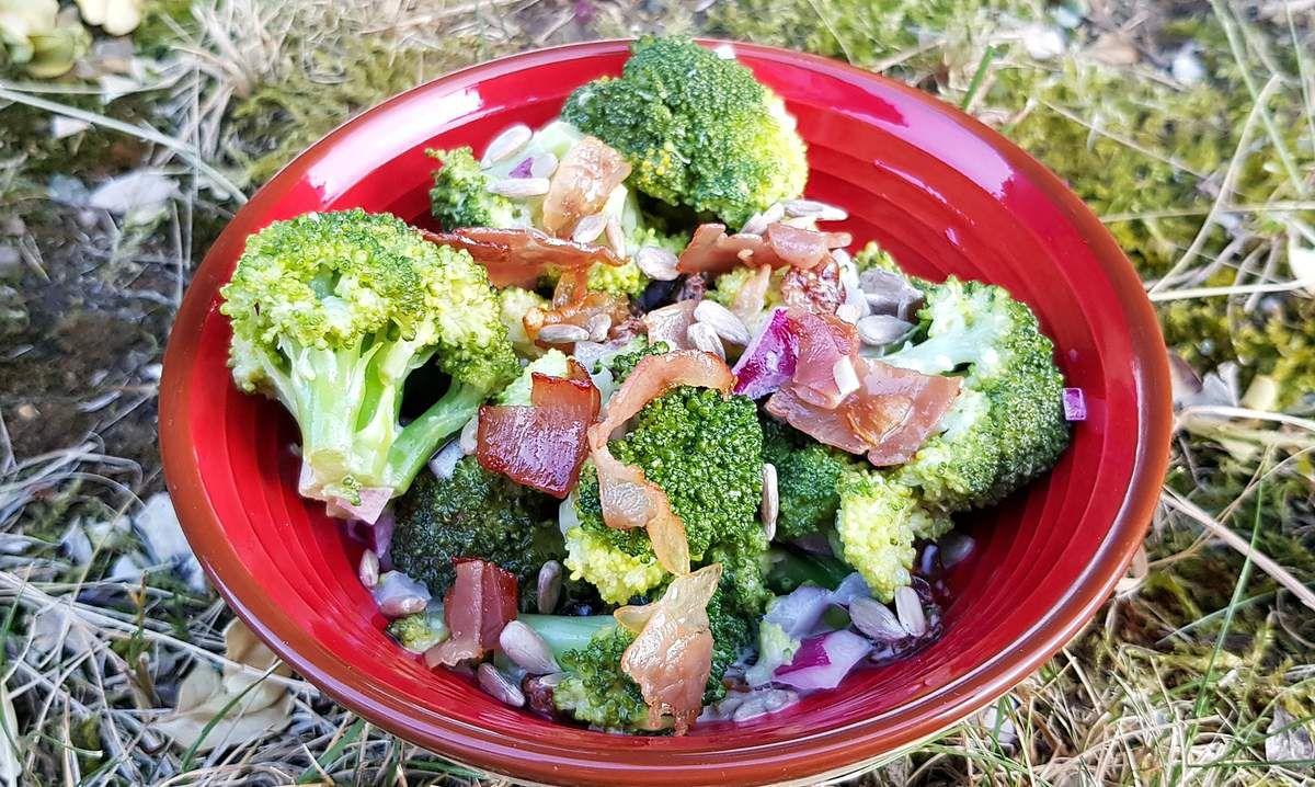 Salade de brocolis aux raisins secs, bacon et graines de tournesol