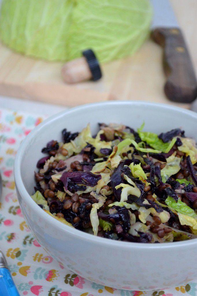 Salade tiède aux 2 choux et aux lentilles beluga