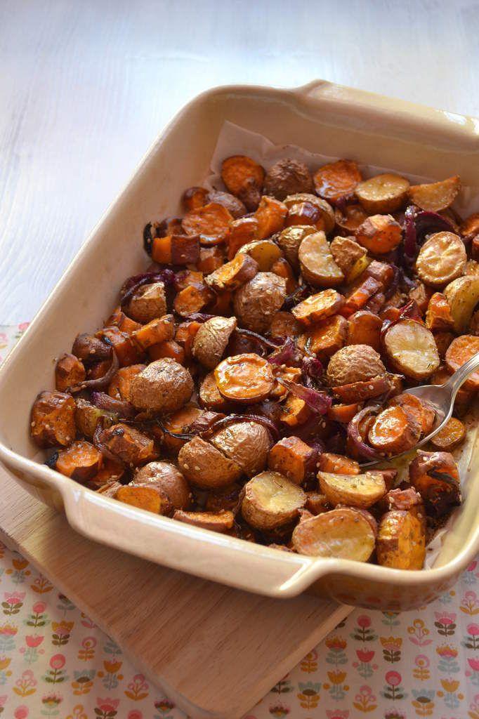 Pommes de terre et patates douces rôties au zaatar