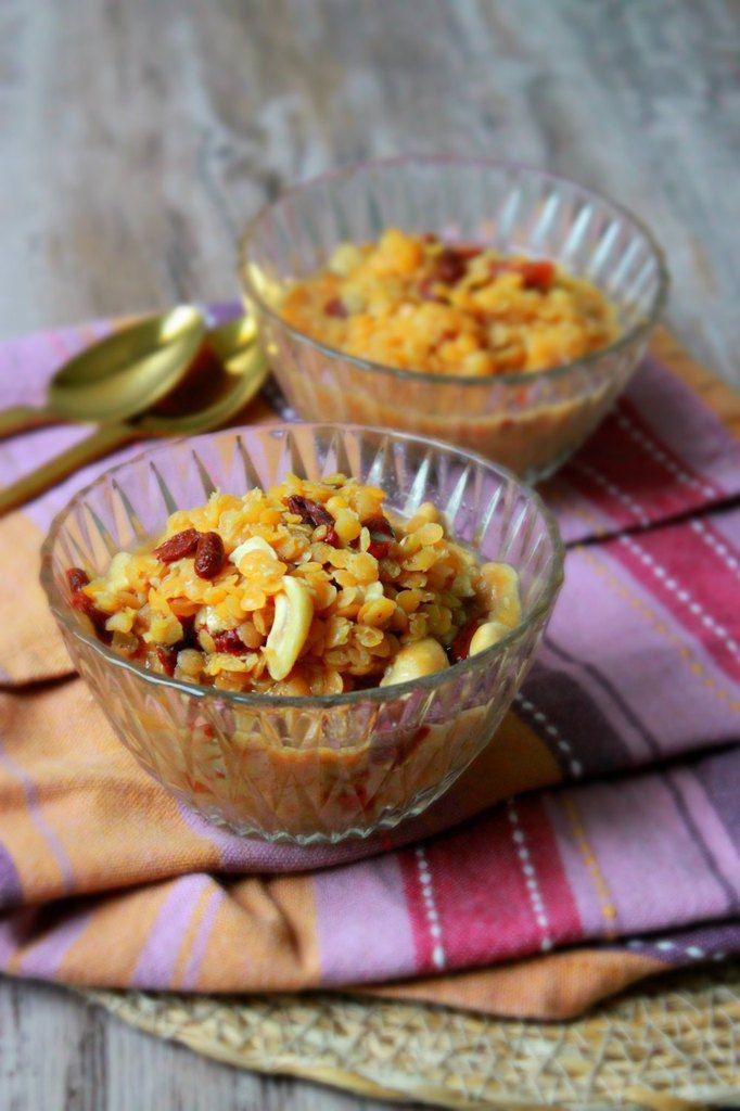 Lentilles corail au lait de coco, baies de goji et cajou (dessert) pour 1.2.3. Veggie !