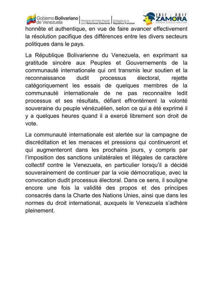 Communiqué Officiel du Ministère du Pouvoir Populaire pour les Relations Extérieures de la République bolivarienne du Venezuela