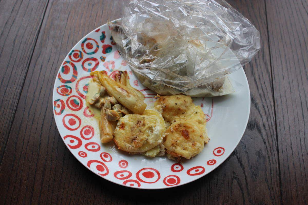 Love Fish (Skrei) aux coques, chicons braisés à l'orange et son gratin